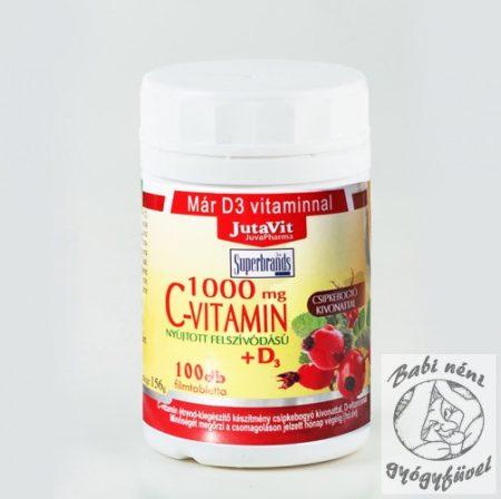 JutaVit C-vitamin 1000 mg nyújtott felszívódású + csipkebogyó + D3 vitamin 100x