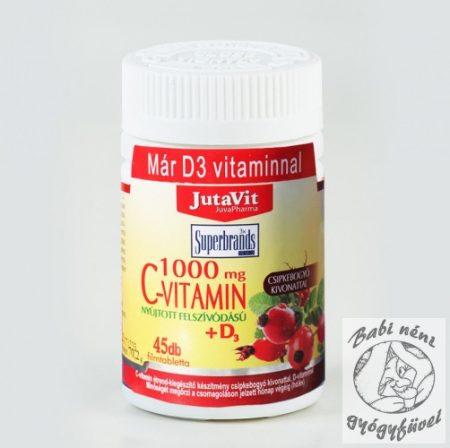 JutaVit C Vitamin 1000 mg nyújtott felszívódású csipkeb. + D3 vitamin