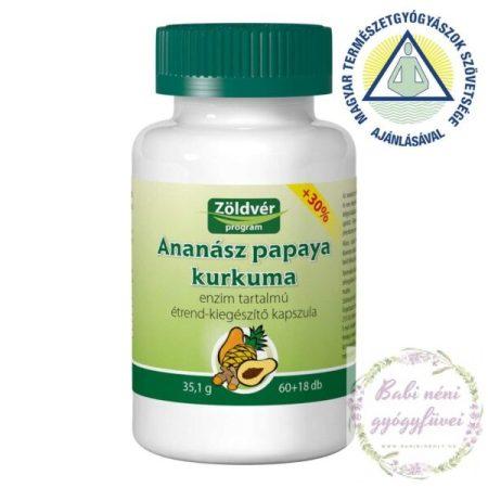 Zöldvér Ananász-papaya-kurkuma kapszula (60+18db-os)